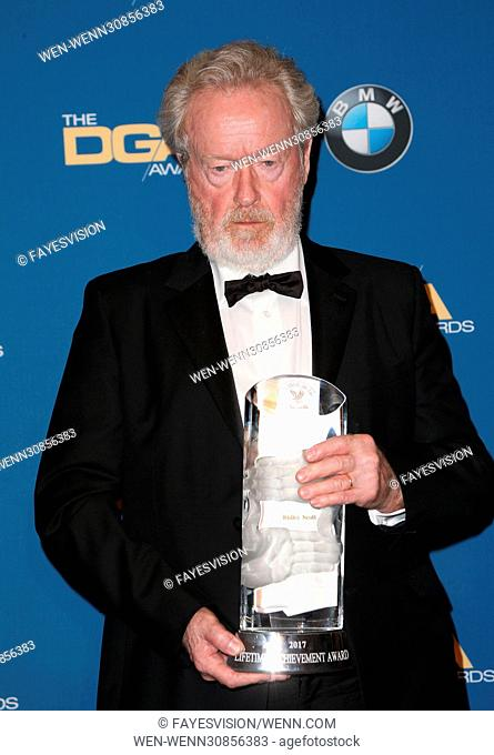 The 69th Annual Director Guild Awards held at the Beverly Hilton - Press Room Featuring: Ridley Scott Where: Beverly Hills, California