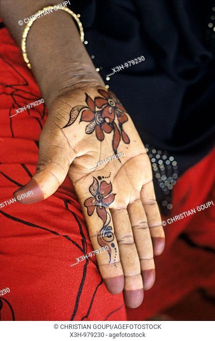 henna drawing on hand,Dhofar,Sultanate of Oman,Arabian Peninsula,southwest Asia