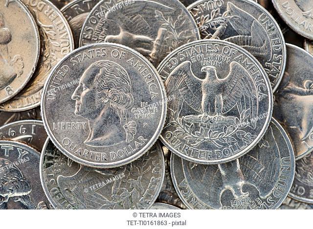 Close up of US coins, studio shot