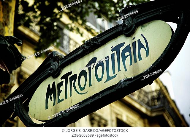 Typical Subway station entrance in paris, France