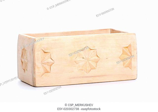 wooden box, isolated on white background
