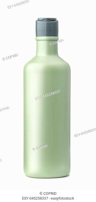 Front view of blank plastic cosmetic bottle isolated on white