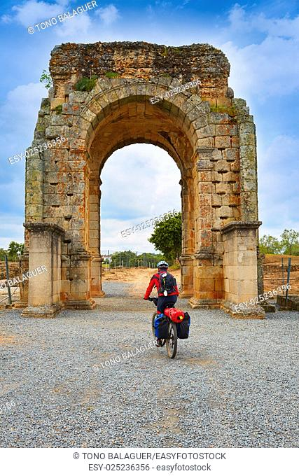 Arch roman of Caparra in Spain Extremadura biker pilgrim by the Via de la Plata way