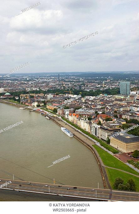 View from Rheinturm TV tower, Dusseldorf, Germany