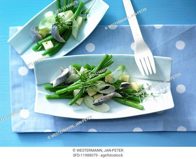Herring & green bean salad with wasabi & apple sauce