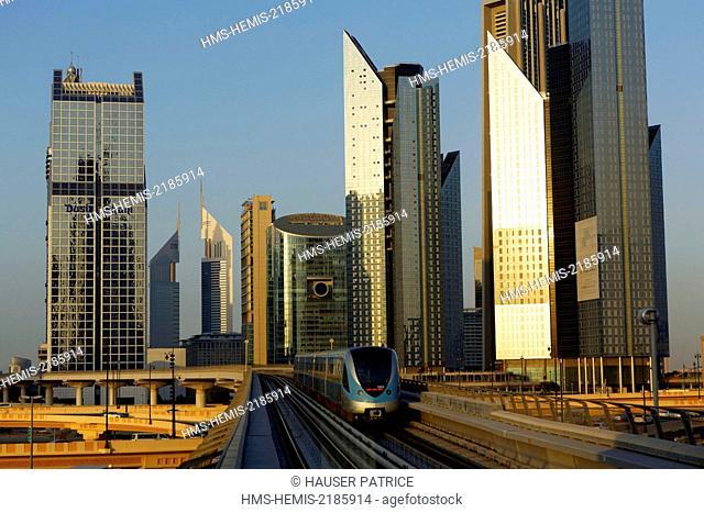 United Arab Emirates, Dubai, DIFC and subway