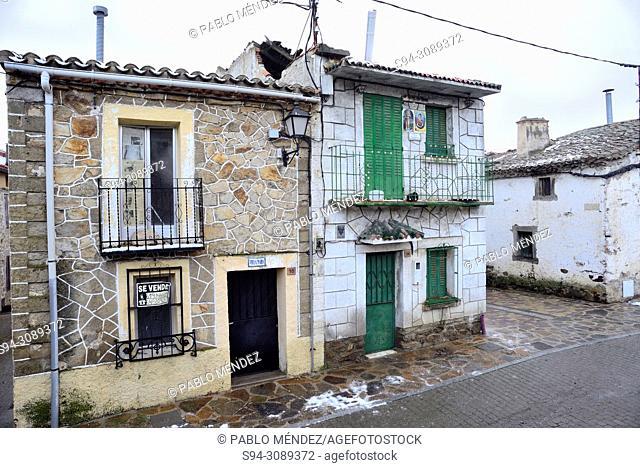 Buildings in the Main square of Villavieja del Lozoya, Madrid, Spain