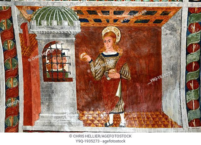 Saint Sebastian Brings Bread to Imprisoned Christians (1513) Chapel of Saint Sebastian Roubion Alpes-Maritimes France