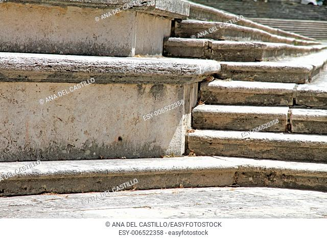 Stair case detail of the Duomo cathedral in Arezzo Tuscany Italy