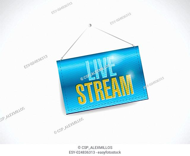 live stream hanging banner illustration design
