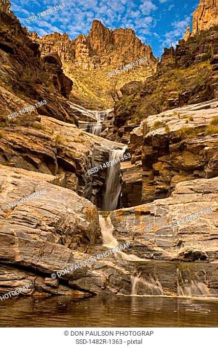 Low angle view of a waterfall, Seven Falls, Coronado National Forest, Bear Canyon, Tucson, Arizona, USA
