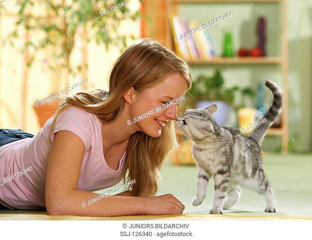 girl with British Shorthair kitten restrictions:Tierratgeber-Bücher / animal guidebooks