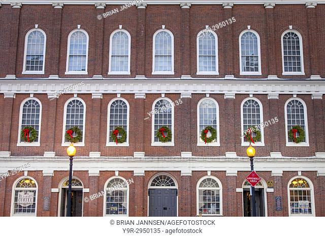 Faneuil Hall (b. 1742) at Christmas, Boston, Massachusetts, USA