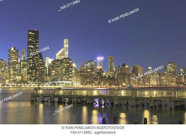 Manhattan Skyline at Night, New York, USA