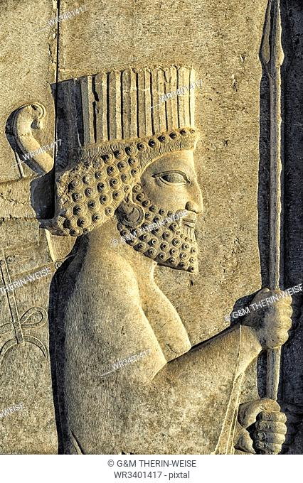 Apadana stairway facade detail, relief of the Achaemenids, Medes and Persians, Persepolis, UNESCO World Heritage Site, Fars Province, Islamic Republic of Iran