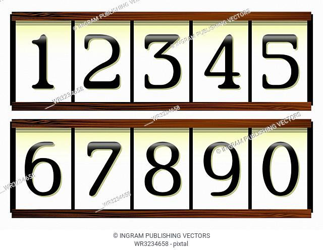 Door or house numbers on a wooden board and a porcelain look