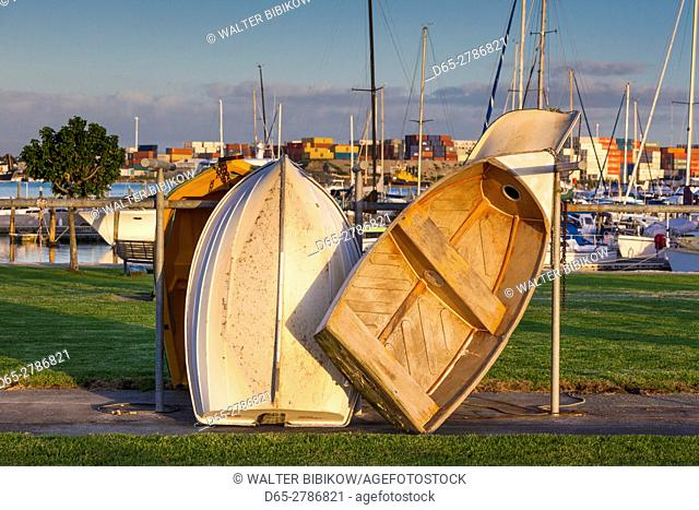New Zealand, North Island, Tauranga, Tauranga Port, rowboats