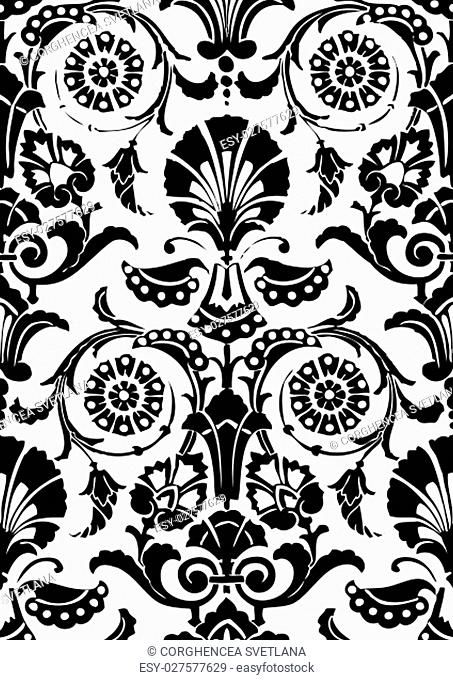 Black and white Seamless abstract hand-drawn floral pattern, vintage background. Seamless pattern can be used for wallpaper, pattern fills, web page background