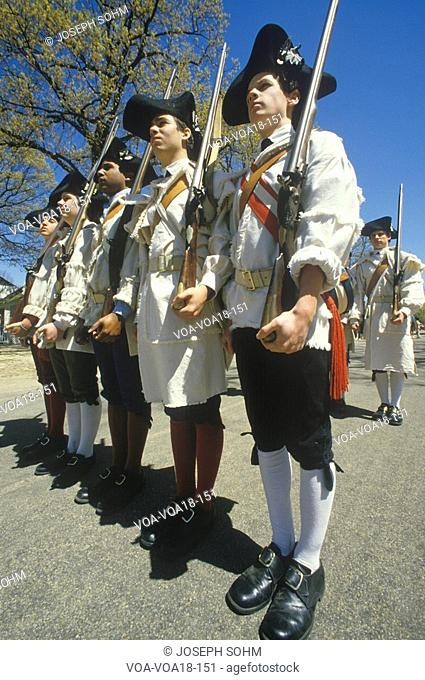 Soldiers with muskets during American Revolutionary War Historical reenactment, Williamsburg, Virginia