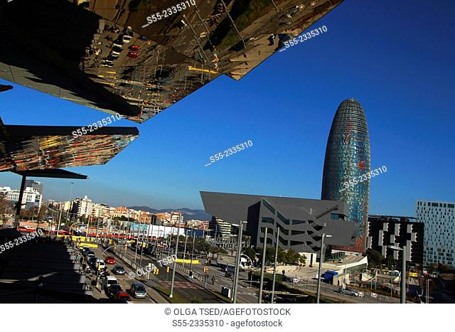 Design Museum Hub Barcelona, by MBM architects. Agbar Tower, by Jean Nouvel, view from the upper floor Els Encants Market. Barcelona, Catalonia, Spain