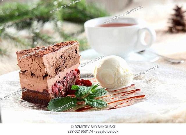 fresh and sweet cake on dish