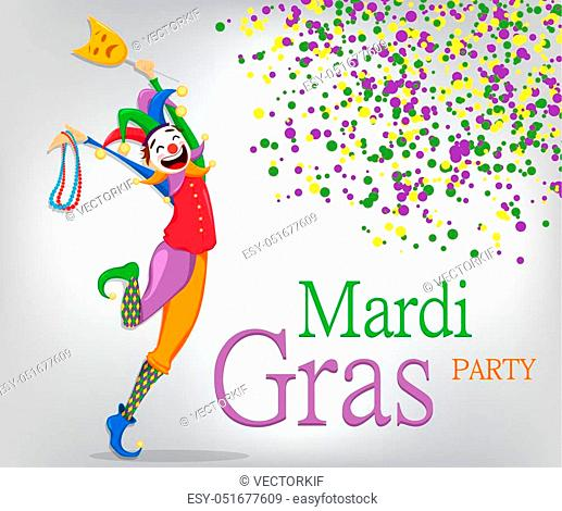 Mardi Gras jester in a mask holding necklaces for poster, greeting card, party invitation, banner or flyer on background with colored dots