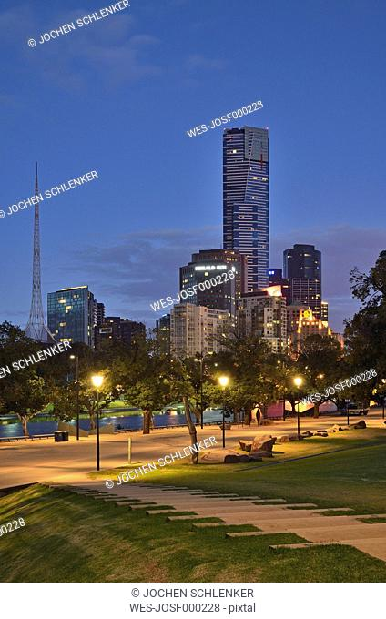 Australia, Victoria, View of Melbourne central business district CBD and yarra river