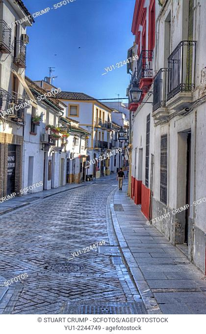 HDR of the houses and ancient narrow streets of The Jewish Quarter of Córdoba, La Juderia, Córdoba, Spain, Europe