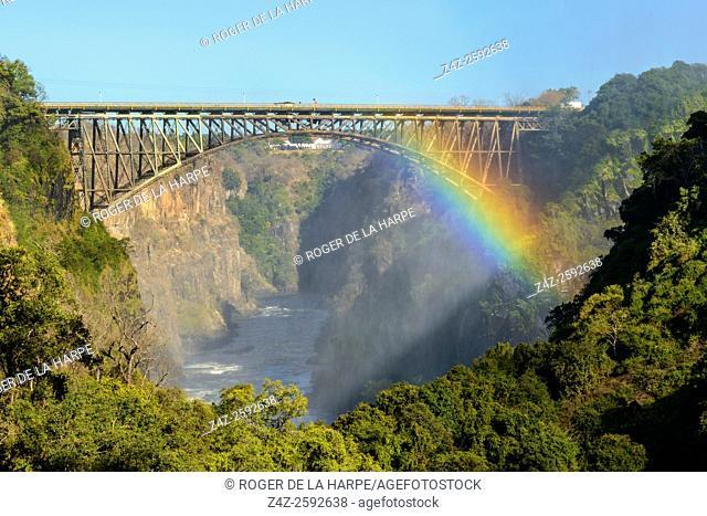 View of Bridge across the Zambezi River from the path to The Boiling Pot. Victoria Falls. Livingstone. Zambia