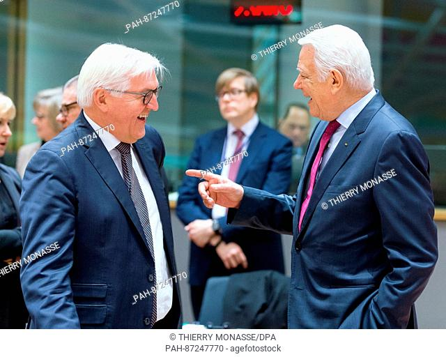 German Foreign Minister Frank-Walter Steinmeier (l) and Romanian Foreign Minister Teodor Melescanu in conversation before a meeting of EUforeign ministers at...