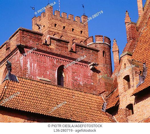 Europe's largest gothic castle, residence of Teutonic Knights' grand master. Malbork. Pomerania. Poland