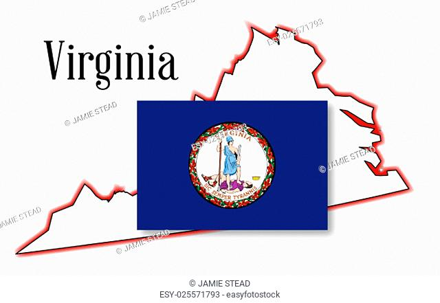 Outline of the state of Virginia over white with inset flag