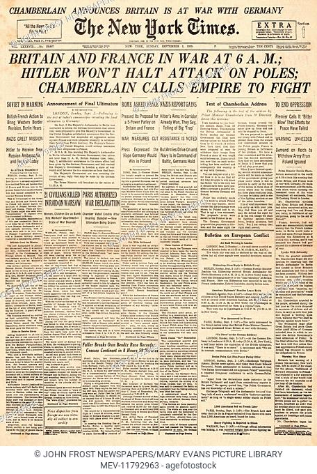 1939 New York Times front page reporting the declaration of war on Germany by Britain and France