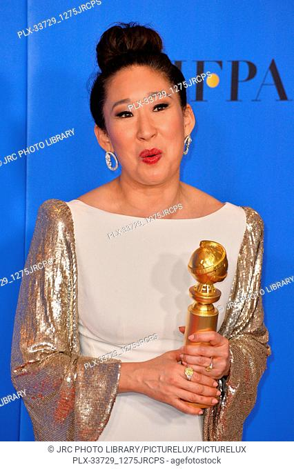 LOS ANGELES, CA. January 06, 2019: Sandra Oh at the 2019 Golden Globe Awards at the Beverly Hilton Hotel. © 2019 JRC Photo Library/PictureLux ALL RIGHTS...