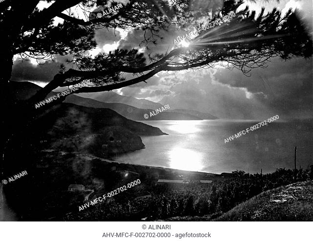 A panoramic view of the seascape, Isola d'Elba, shot 1960 by Omnia Foto
