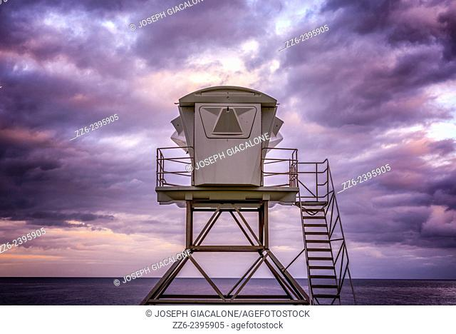 Lifeguard tower with clouds in the background. La Jolla, California, United States