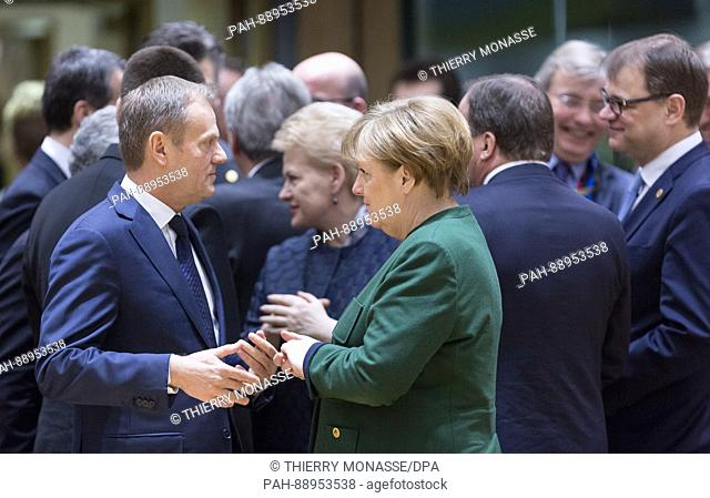March 10, 2017. Brussels, Belgium: President of the European Council Donald Franciszek Tusk is talking with the German Chancellor Angela Merkel (R) during an EU...