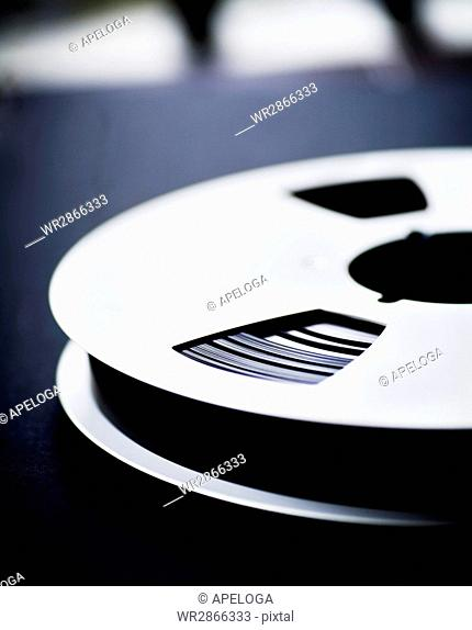 Close-up of film reel on table