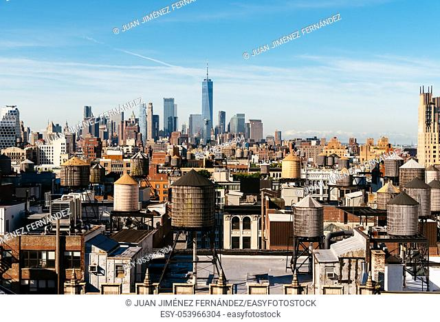 High angle view of the skyline of Manhattan in New York City a sunny day