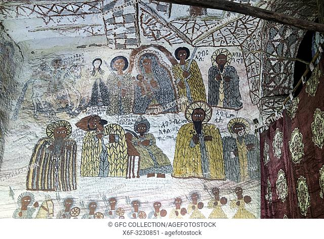 Fresco in the rock-hewn church Yohannes Maequddi, north wall of the church depicting the virgin with child, Archangels as well as saints and other figures of...