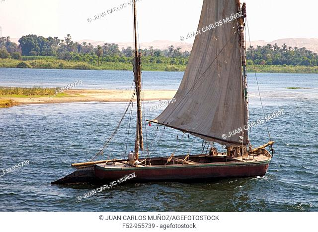 Felucca on the Nile River. Nile Valley. Egipt