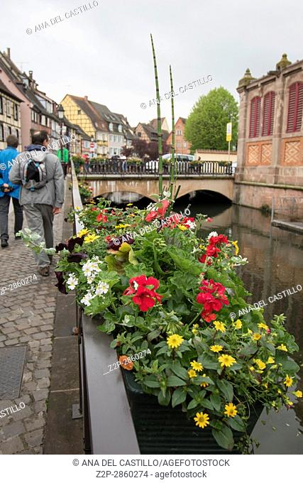 Market building and canal in Colmar Alsace France