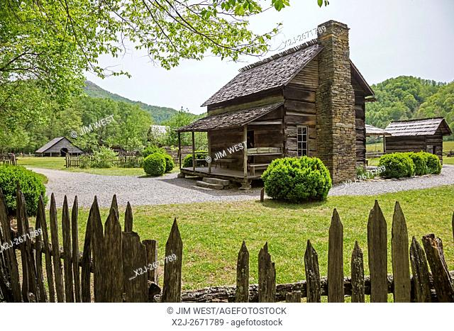 Great Smoky Mountains National Park, North Carolina - The Mountain Farm Museum displays log farm buildings and agricultural practices from the 19th century
