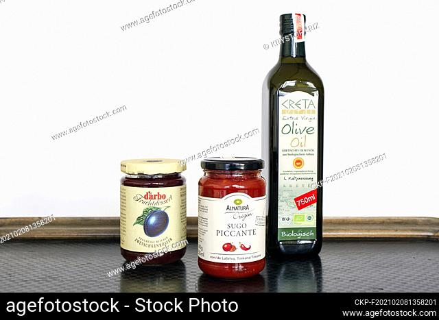 Plum marmalade, tomato sauce Sugo Picante by Alnatura and extra virgin bio olive oil Creta pictured as still-life in Bergheim, Germany on December 13, 2020