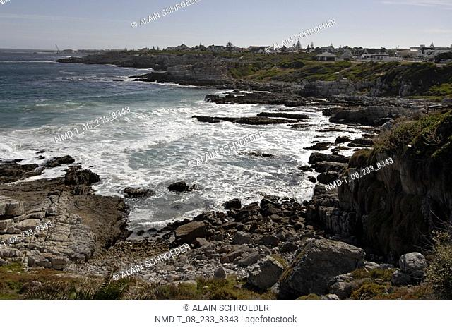 High angle view of rocks at the coast, Hermanus, Western Cape Province, South Africa