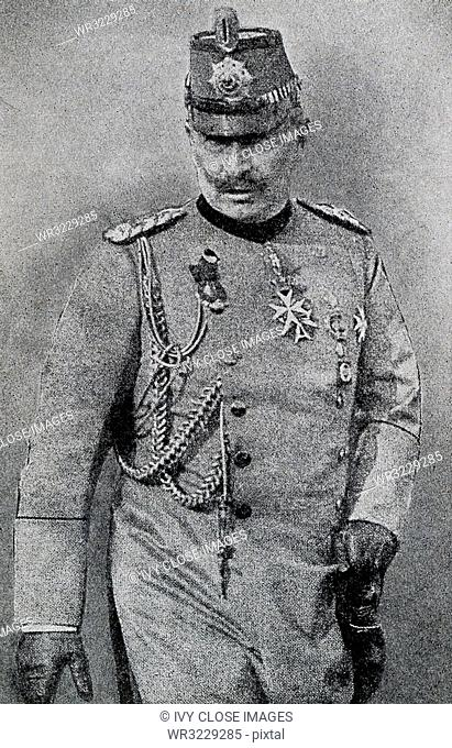 This photo from 1922 shows the Ex-Kaiser Wilhelm II in Austrian Uniform. He was the last German Emperor (Kaiser) and the king of Prussia