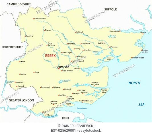 vector map of the county essex, england