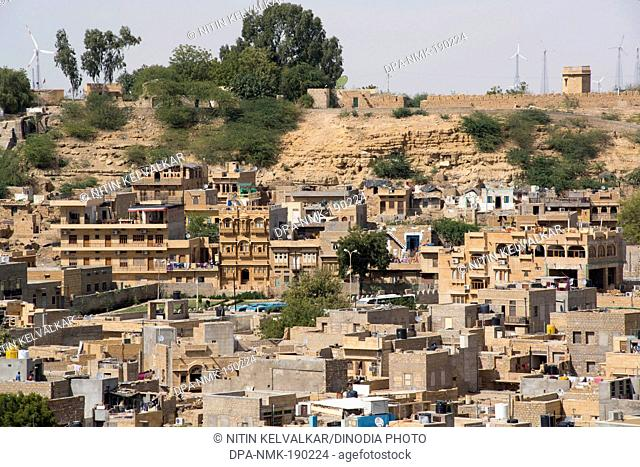 Aerial view of city houses Jaisalmer Rajasthan India Asia