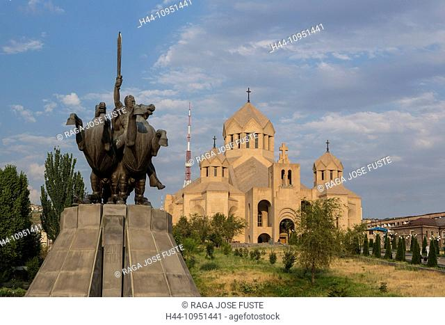 Armenia, South Caucasus, Caucasus, Eurasia, Saint Gregory, Yerevan, architecture, cathedral, city, history, historical, sculpture, skyline, church, Illuminator