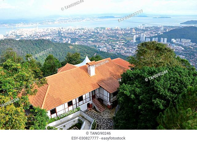 PENANG, MALAYSIA - NOV 26, 2015: Luxury house on top Penang hill, Penang Malaysia. It command a spectacular view of the island at 735m above sea level